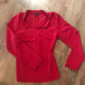 Red, long-sleeve blouse from Banana Republic. Sz M